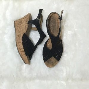 Rampage Black Crochet Cork Wedges